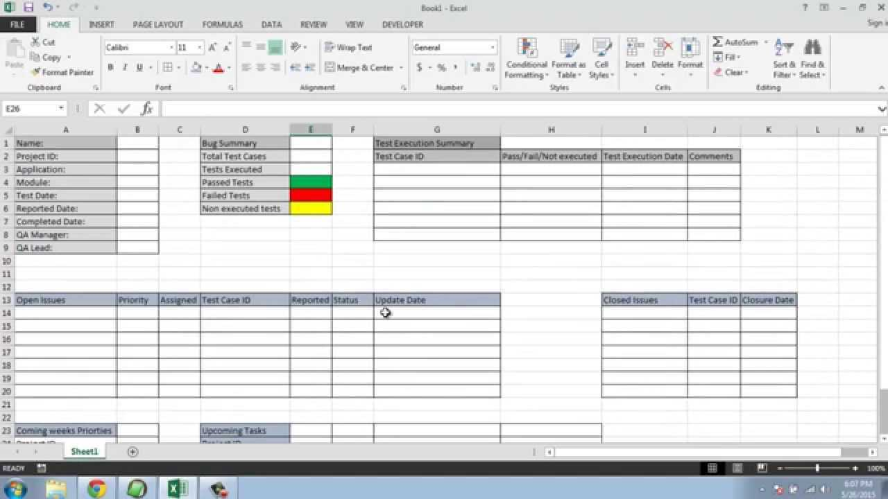 Software Testing Weekly Status Report Template Regarding Test Summary Report Excel Template