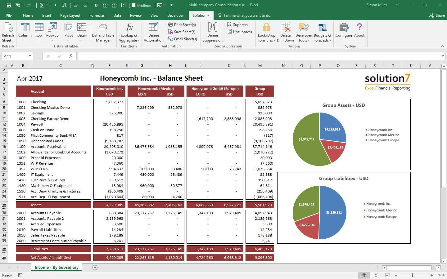 Solution 7 Excel Financial Reporting & Planning For Netsuite in Excel Financial Report Templates