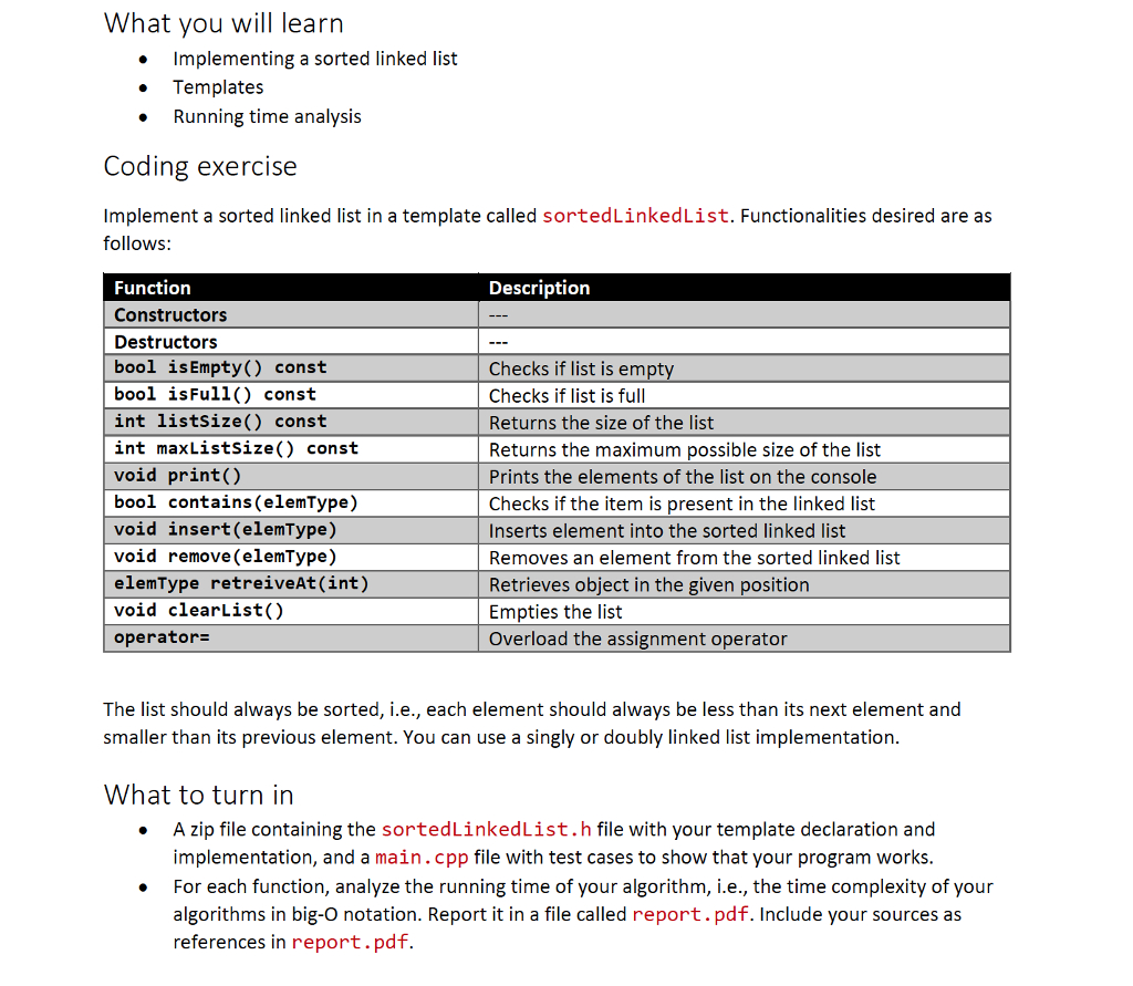 Solved: In C++ Solve It Using Templates Use Sortedlinkedli with regard to Implementation Report Template