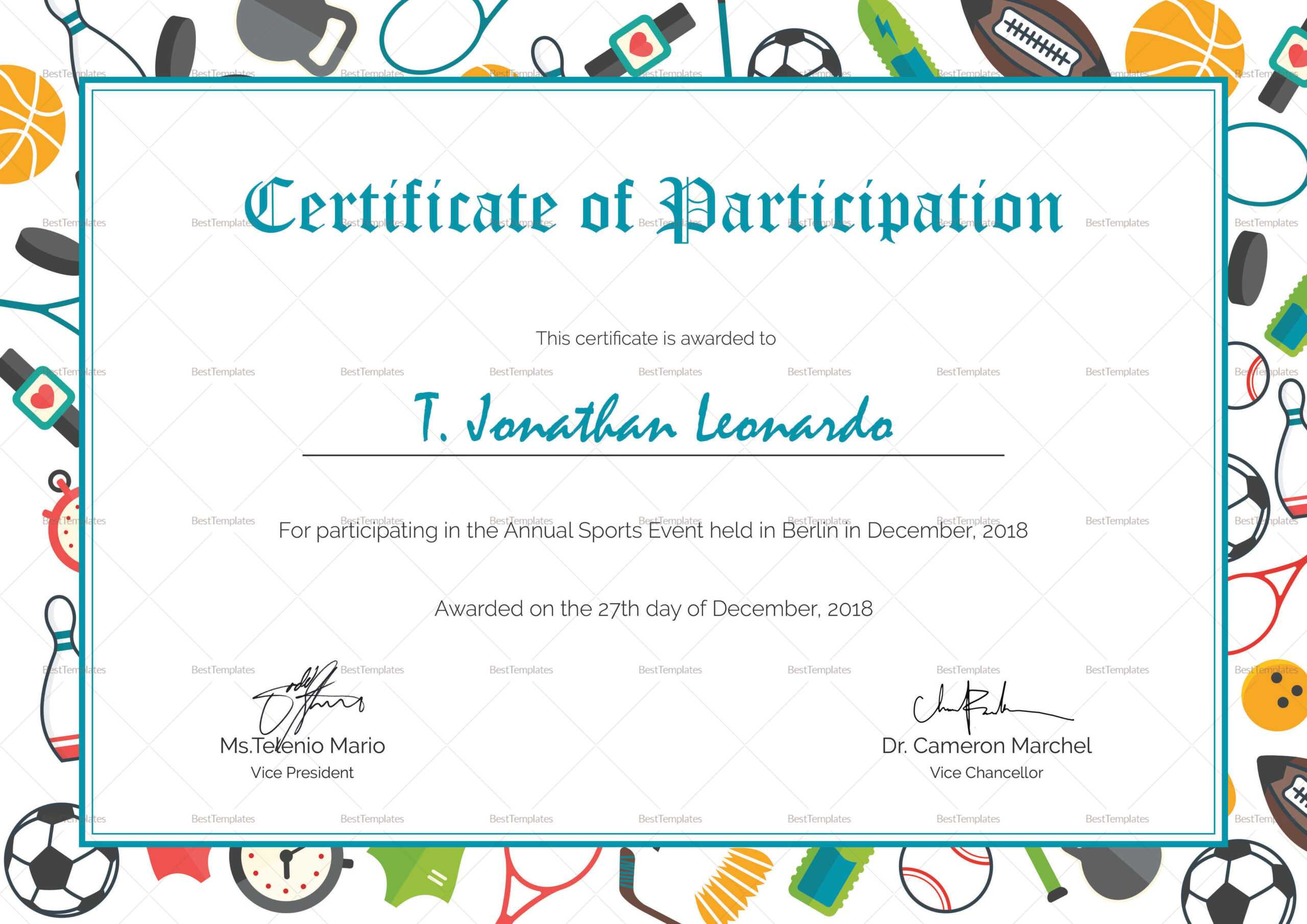 Sports Participation Certificate Template With Regard To Athletic Certificate Template