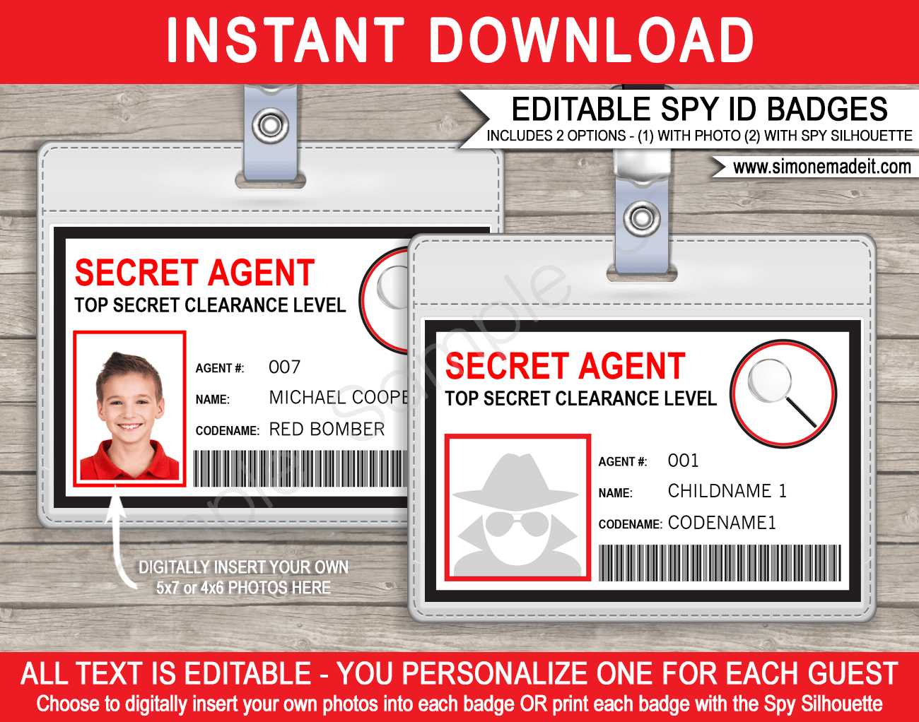 Spy Or Secret Agent Badge Template – Red In Spy Id Card Template