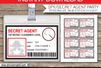 Spy Or Secret Agent Badge Template – Red | Spy Birthday pertaining to Spy Id Card Template