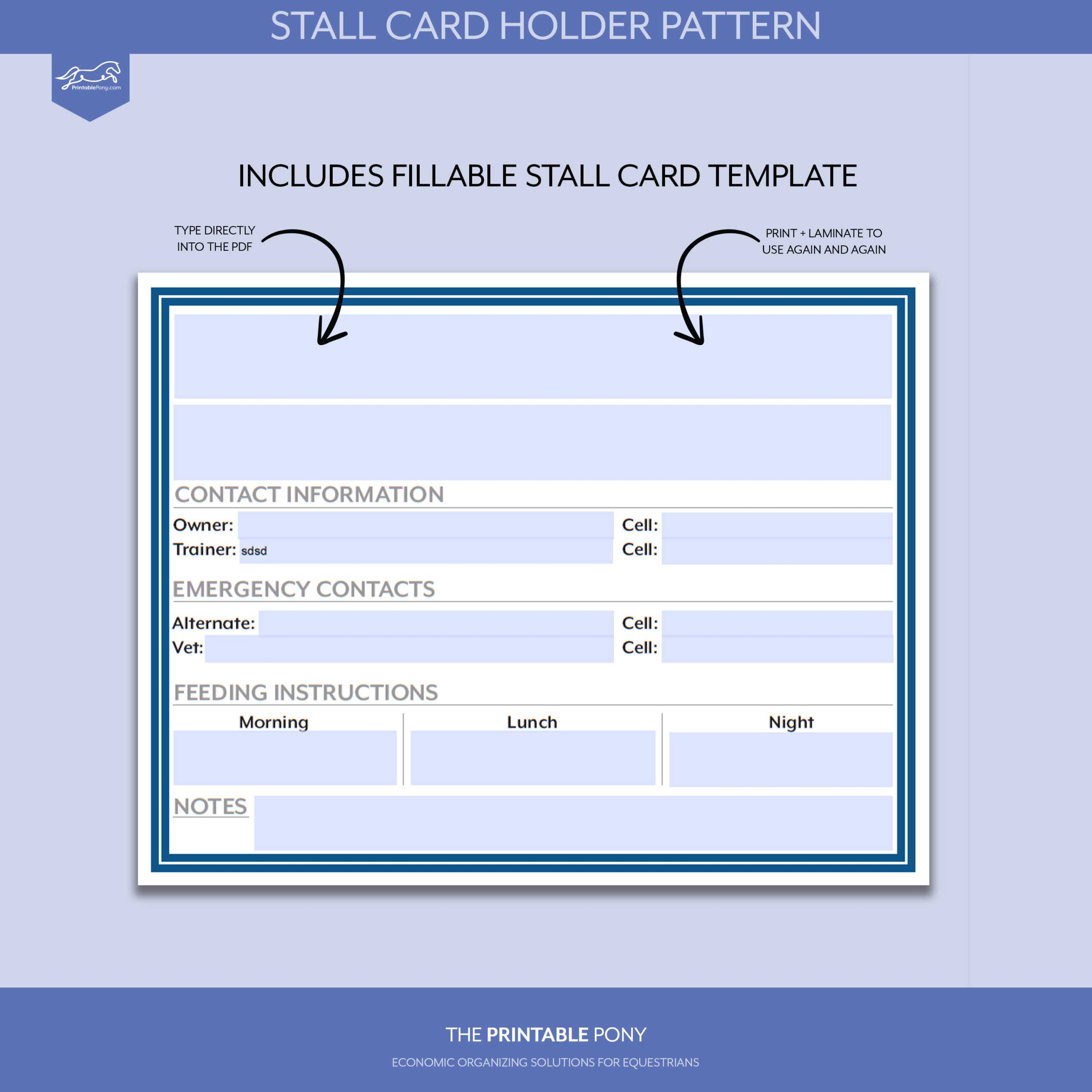 Stall Card Holder Pattern + Printable Stall Card Pertaining To Horse Stall Card Template