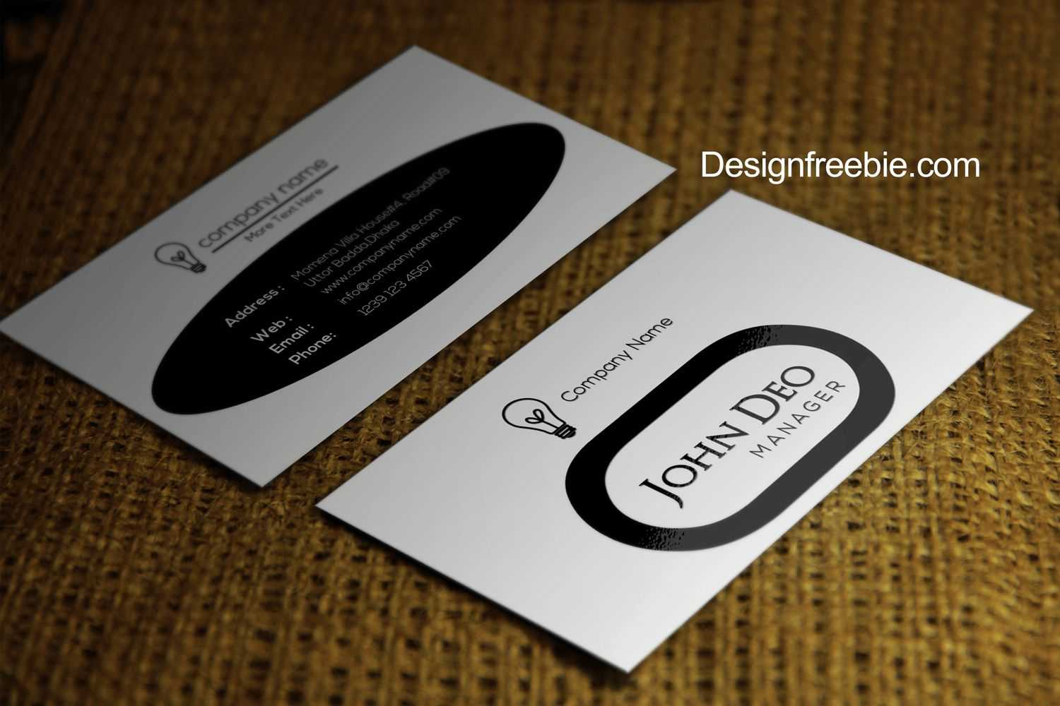 Standard Black And White Business Cards Templates Free Throughout Black And White Business Cards Templates Free