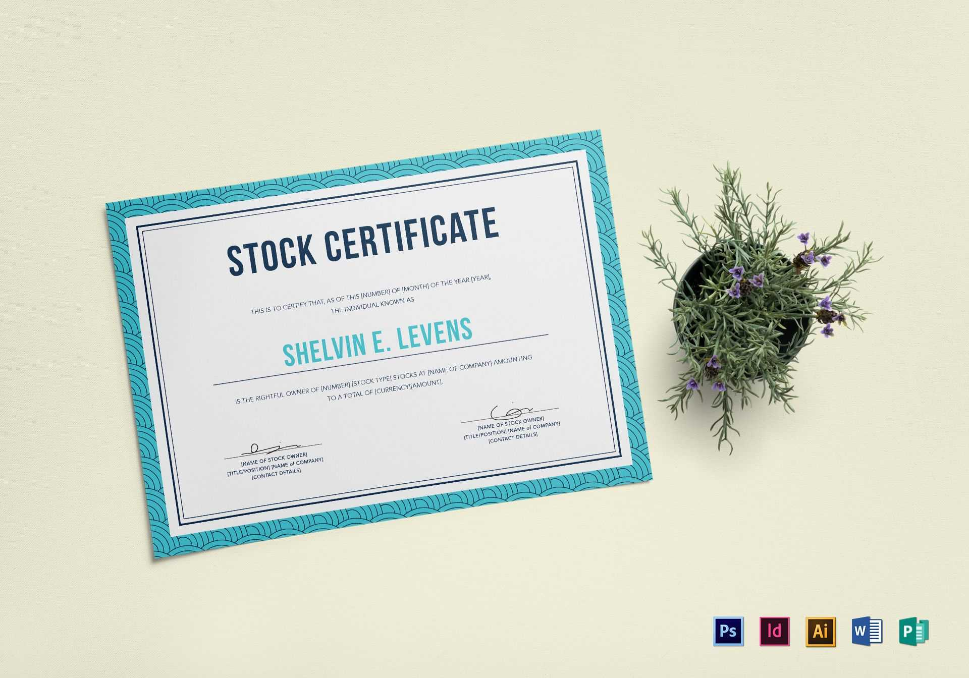 Stock Certificate Template Regarding Stock Certificate Template Word