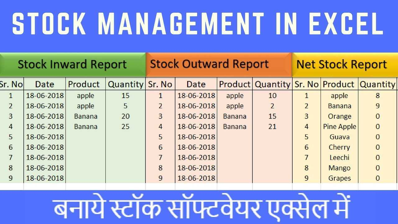 Stock Maintain Software In Excel In Hindi within Stock Report Template Excel