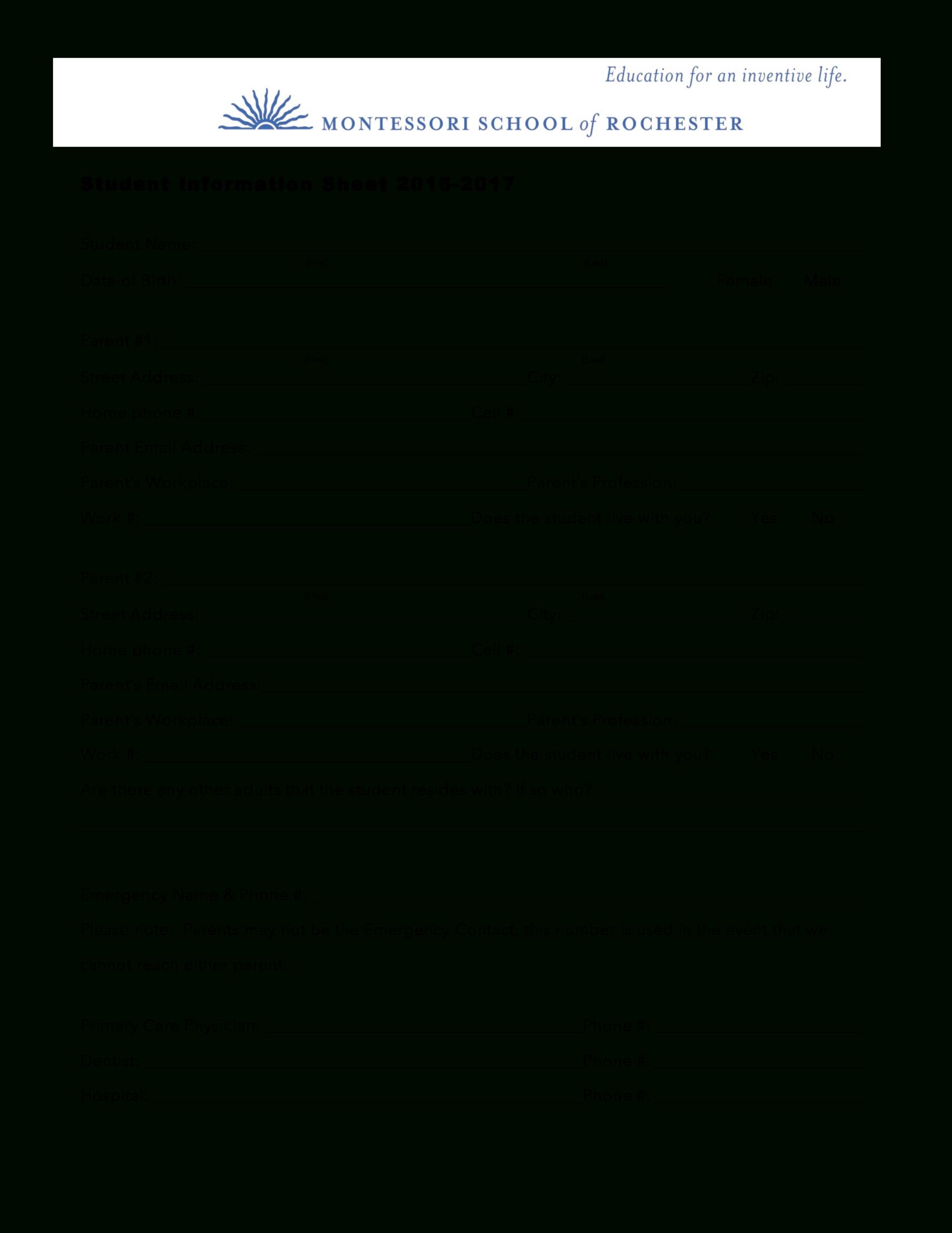 Student Information Sheet | Templates At Allbusinesstemplates For Student Information Card Template