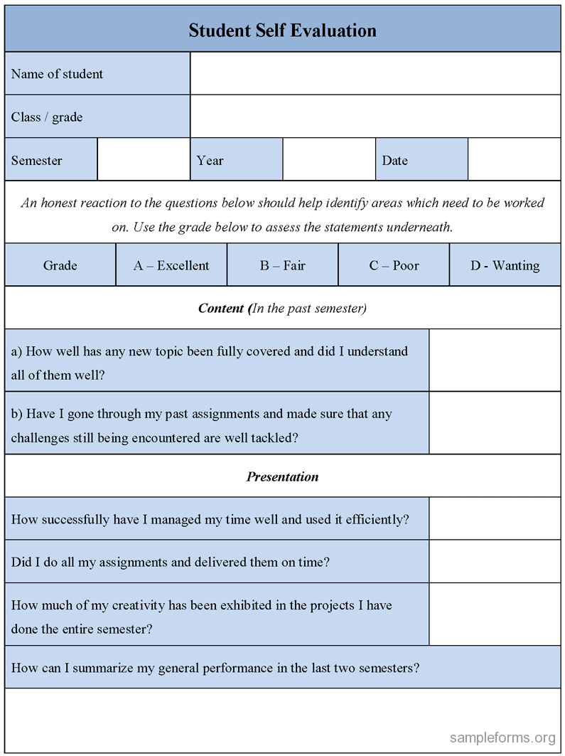 Student Self Evaluation Form : Sample Forms regarding Student Feedback Form Template Word