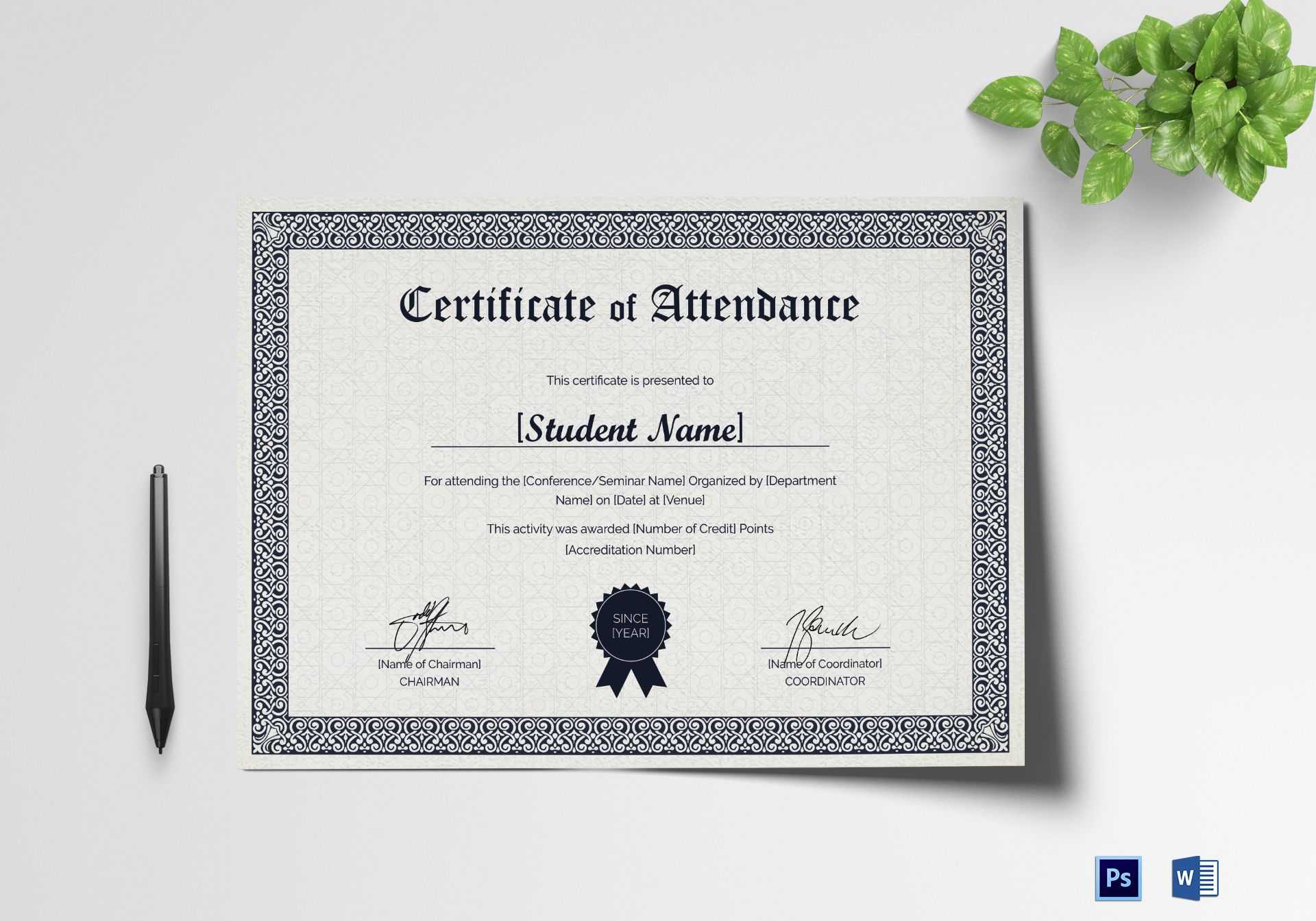Students Attendance Certificate Template regarding Certificate Of Attendance Conference Template