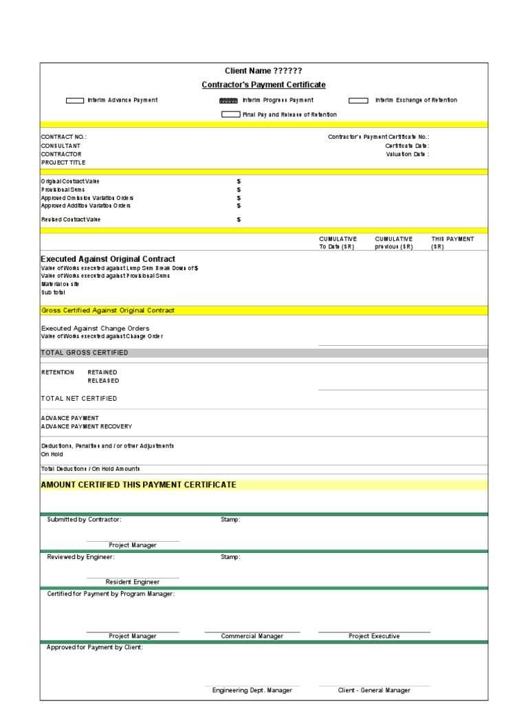 Subcontractor Payment Certificate Template Excel Alive intended for Certificate Of Payment Template