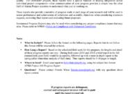 Suggested Format For Semi-Annual Progress Report regarding Research Project Progress Report Template