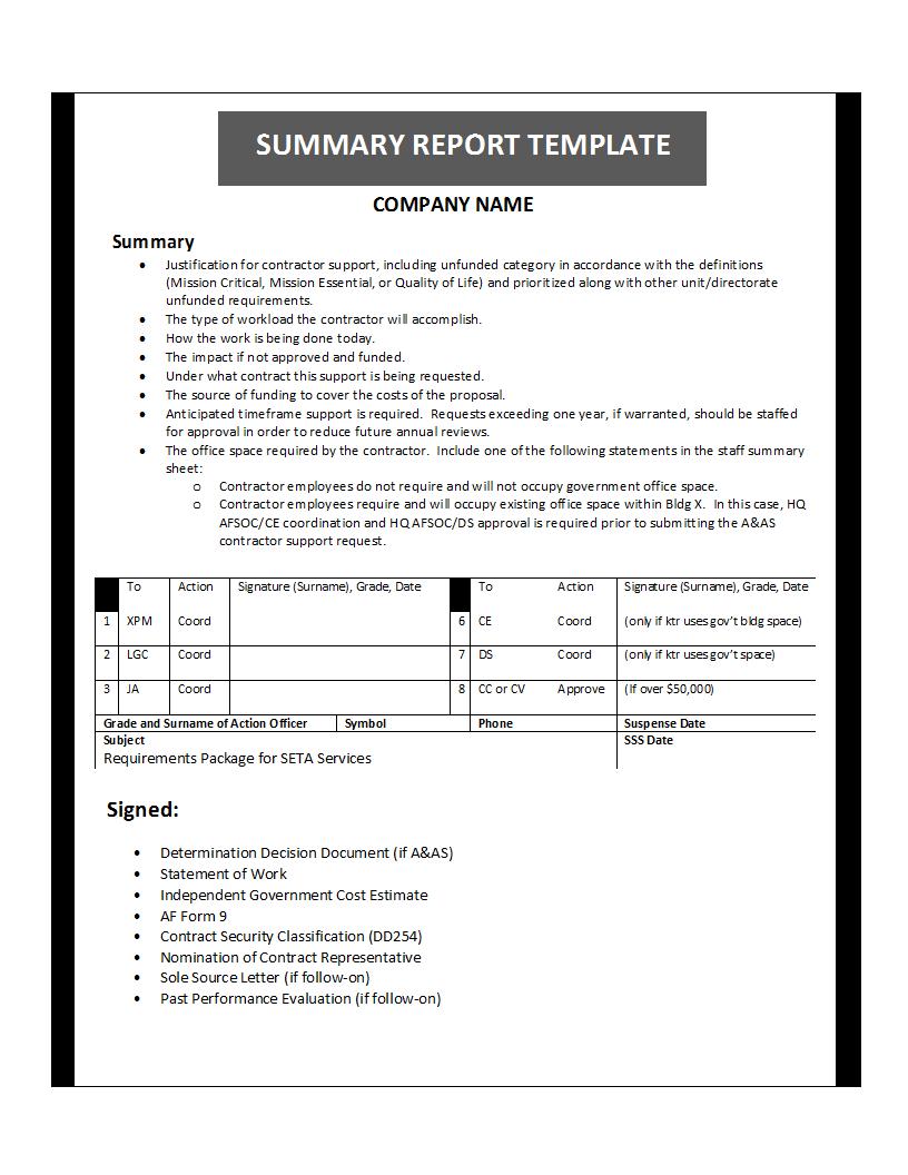 Summary Report Template Regarding Work Summary Report Template