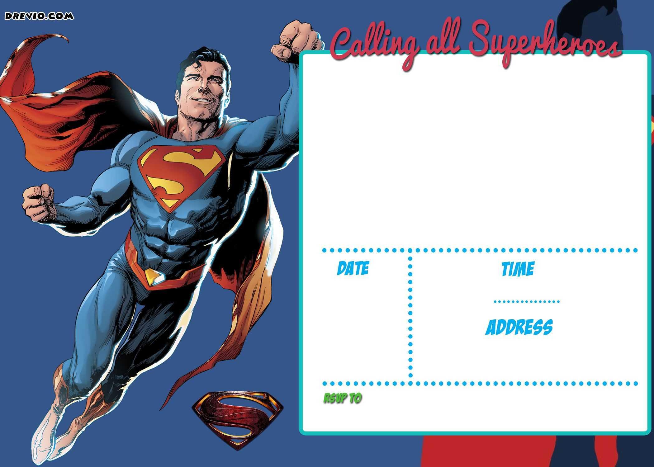 Superman Birthday Card Template - Atlantaauctionco Throughout Superman Birthday Card Template