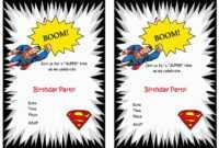 Superman Birthday Invitations – Birthday Printable throughout Superman Birthday Card Template