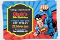 Superman Invitation, Superman Party, Superman Birthday regarding Superman Birthday Card Template