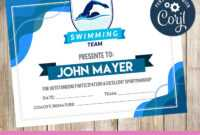 Swimming – Certificate – Printable – 3Grafik | Swimming with regard to Free Swimming Certificate Templates