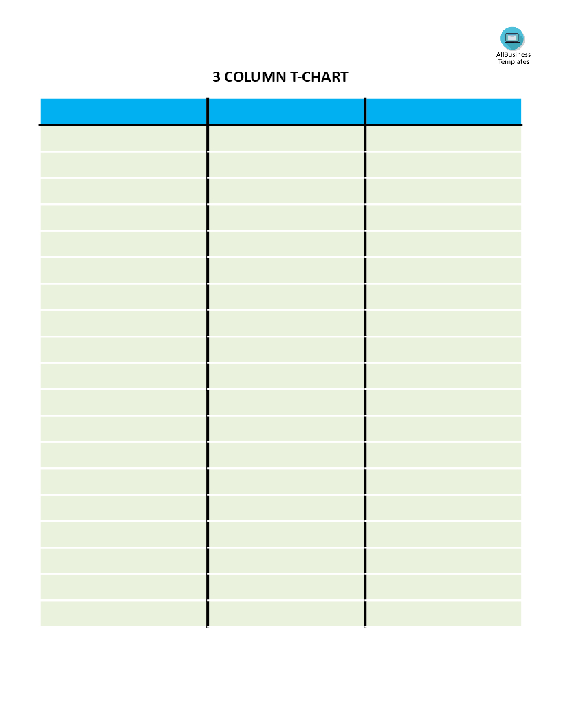 T Chart With 3 Columns | Templates At Allbusinesstemplates In 3 Column Word Template