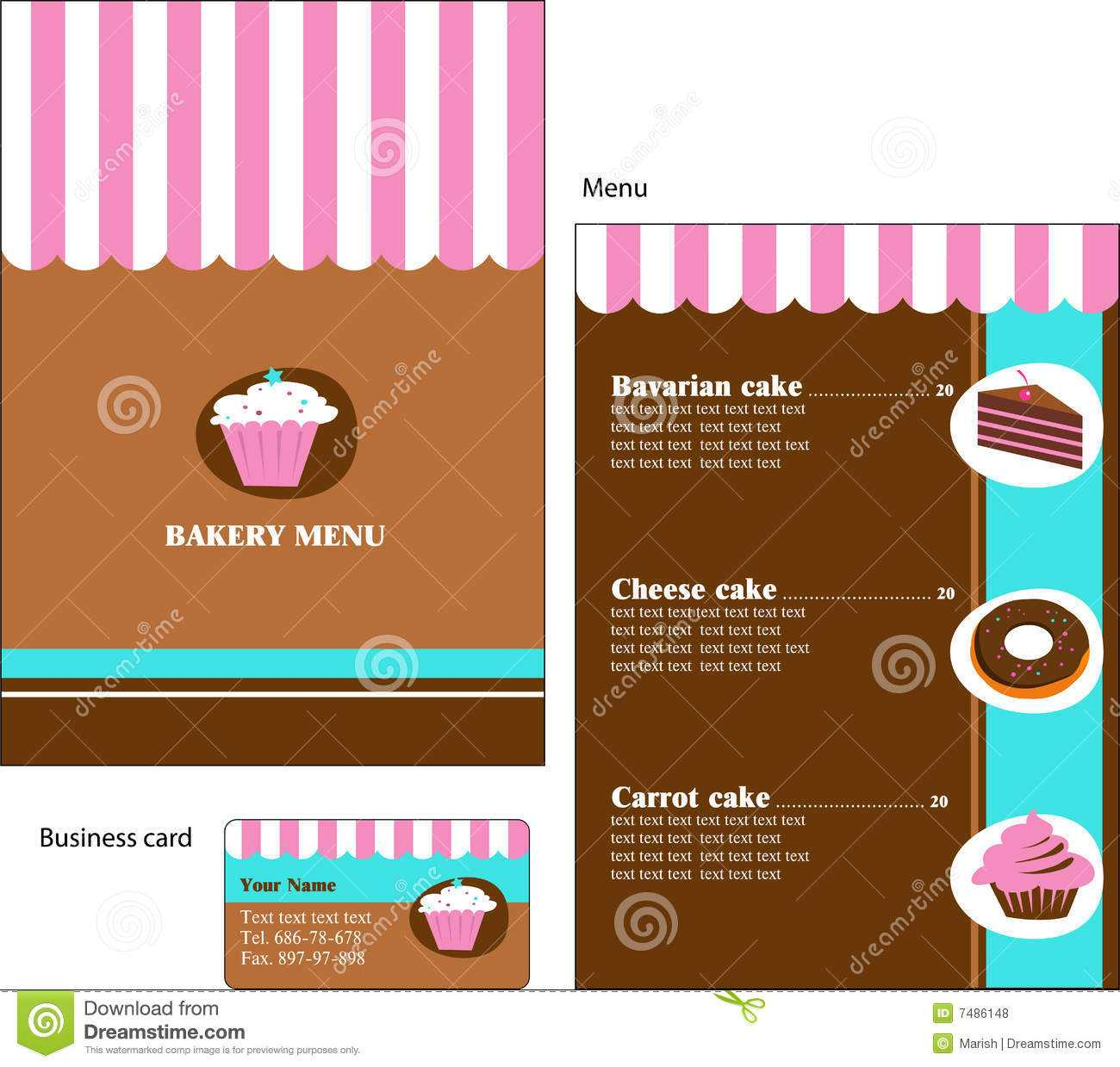 Template Designs Of Bakery And Restaurant Menu Stock Vector Throughout Cake Business Cards Templates Free