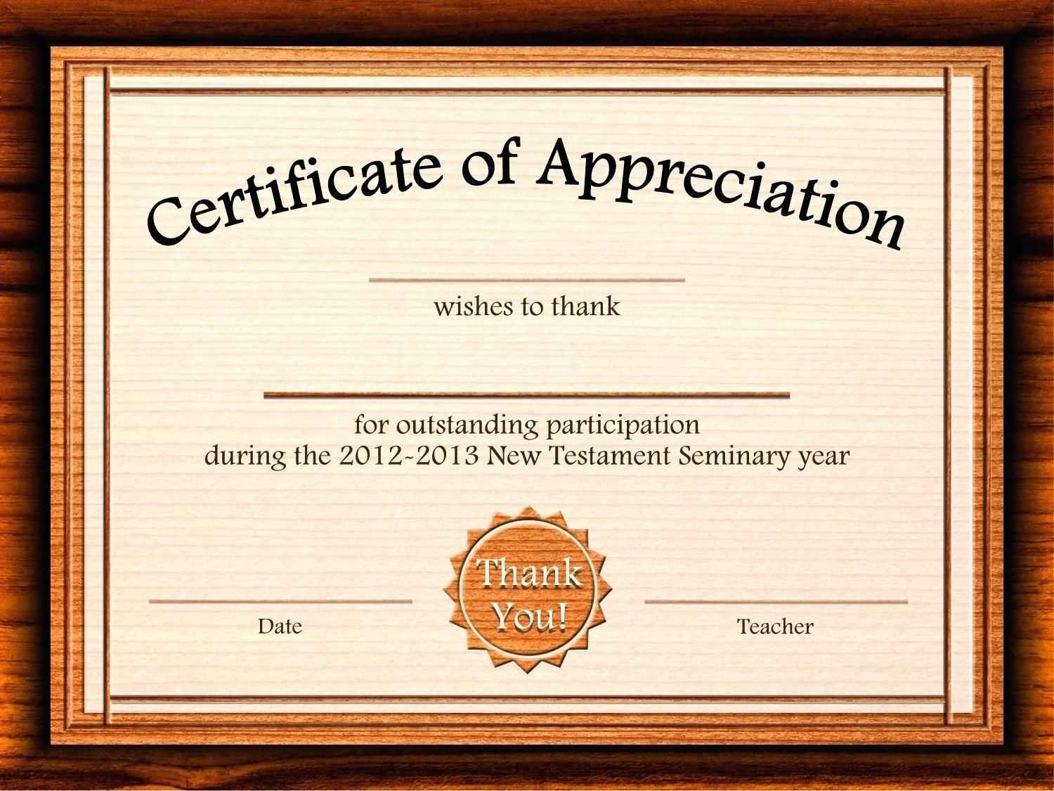 Template: Editable Certificate Of Appreciation Template Free throughout Printable Certificate Of Recognition Templates Free