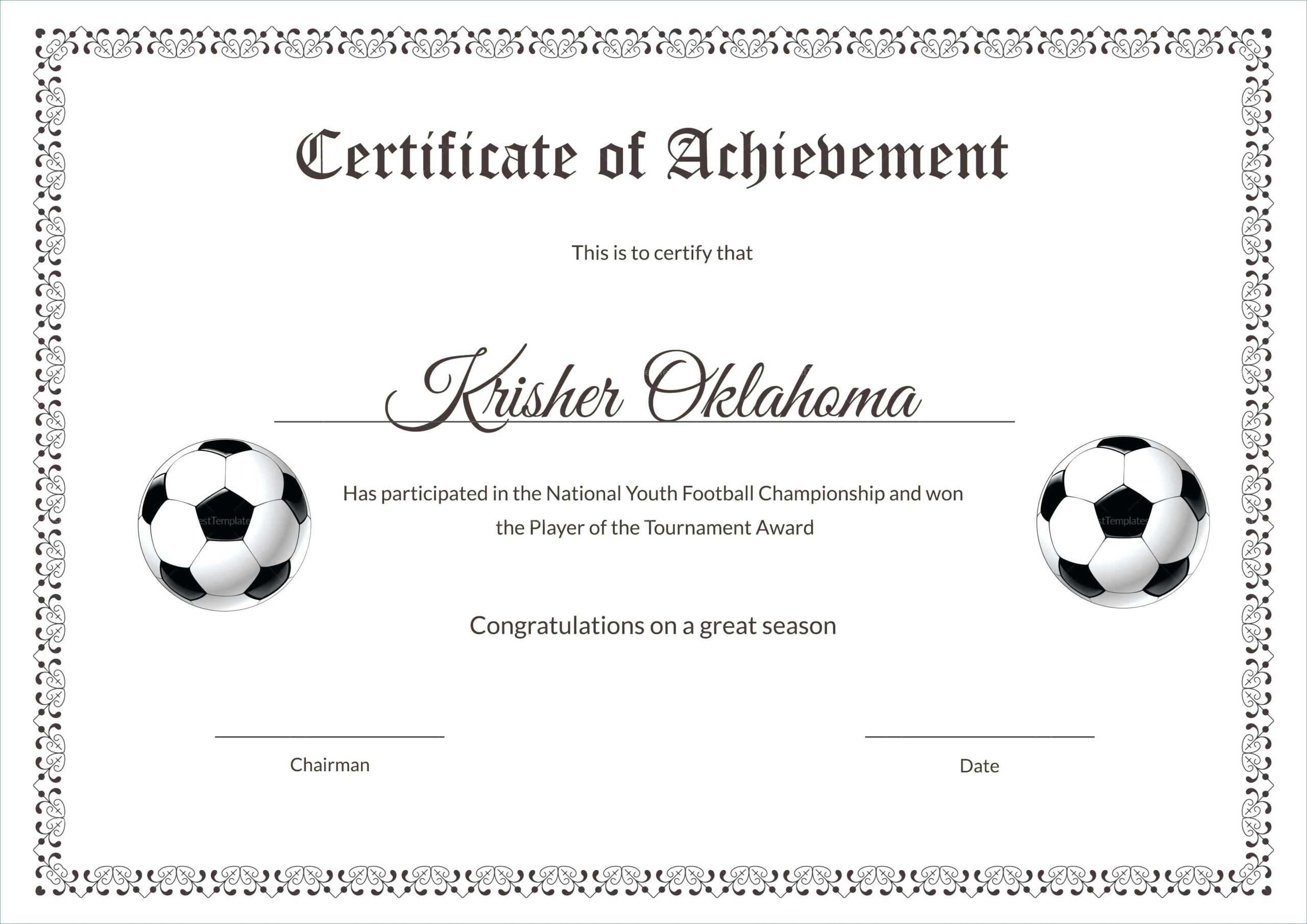 Template: Football Certificate Templates Majestic Award intended for Soccer Certificate Template