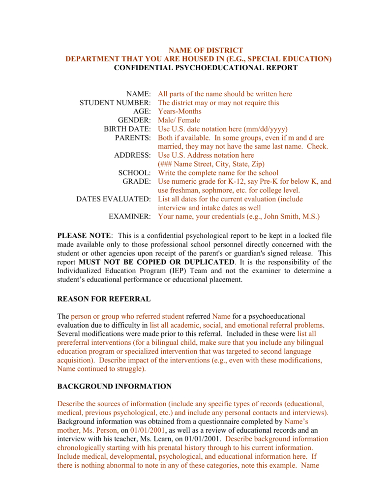 Template For A Bilingual Psychoeducational Report Within Psychoeducational Report Template