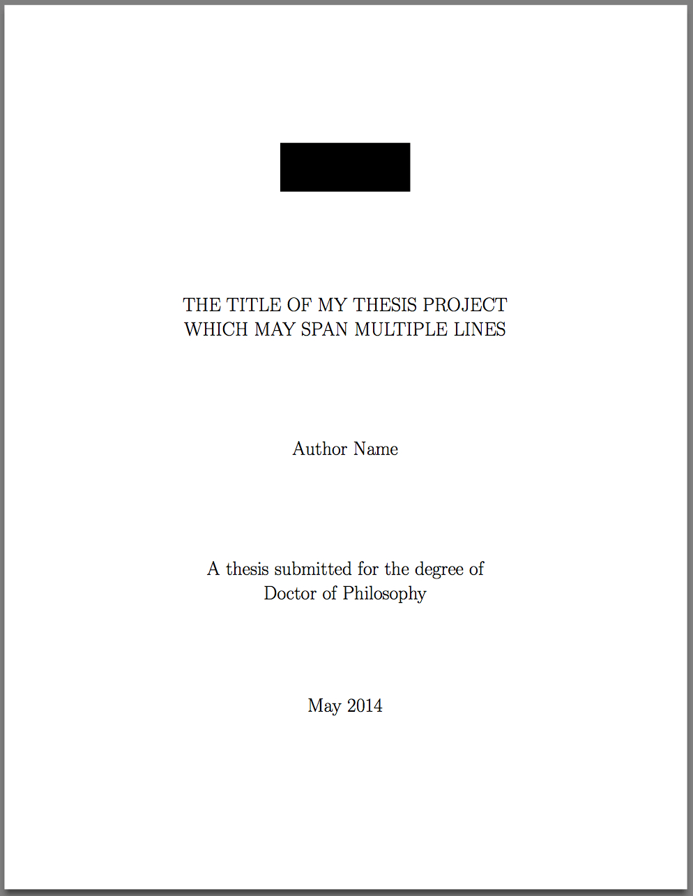 Template For Latex Phd Thesis Title Page – Texblog within Project Report Latex Template