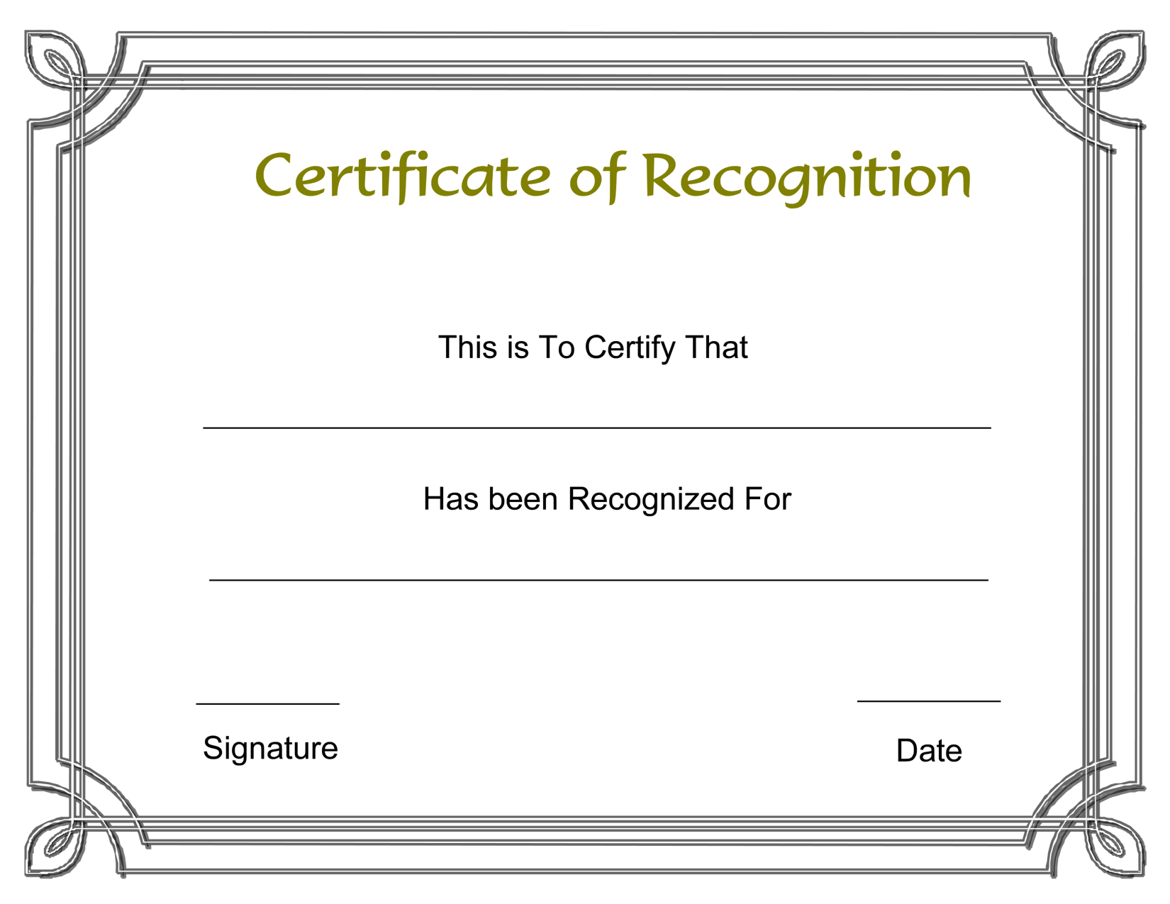 Template Free Award Certificate Templates And Employee inside Printable Certificate Of Recognition Templates Free