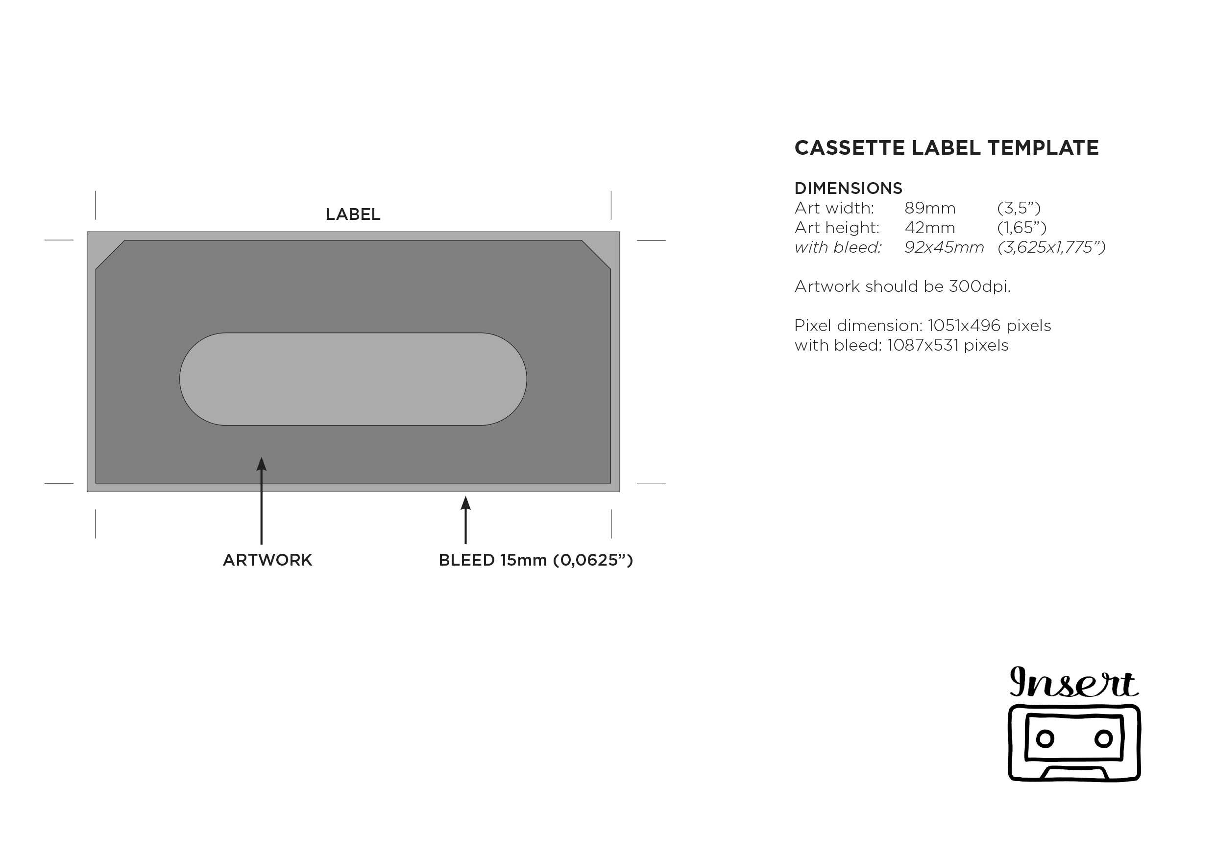 Templates – Insert Tapes in Cassette J Card Template