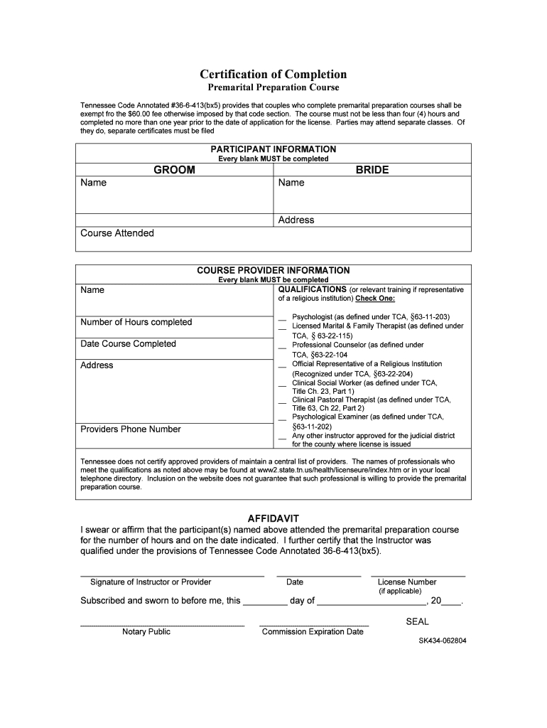 Tennessee Pre Marital Counseling Certificate - Fill Online intended for Premarital Counseling Certificate Of Completion Template