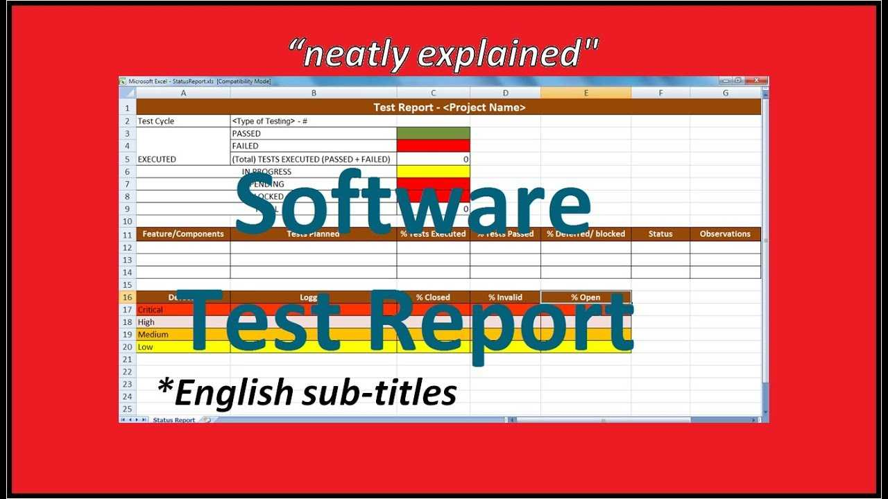 Test Report In Software Testing | Testing Status Reports for Test Summary Report Excel Template