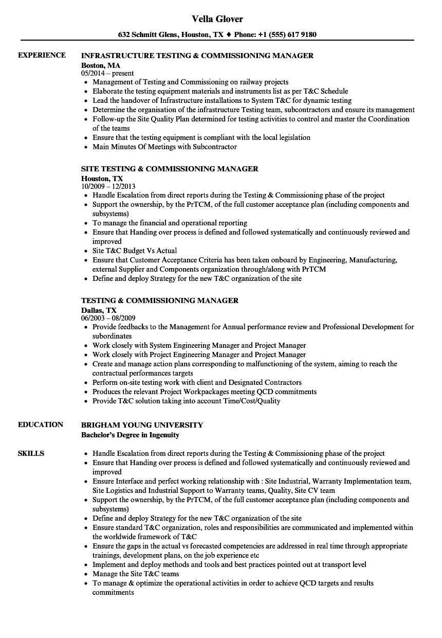 Testing & Commissioning Resume Samples | Velvet Jobs Throughout Megger Test Report Template