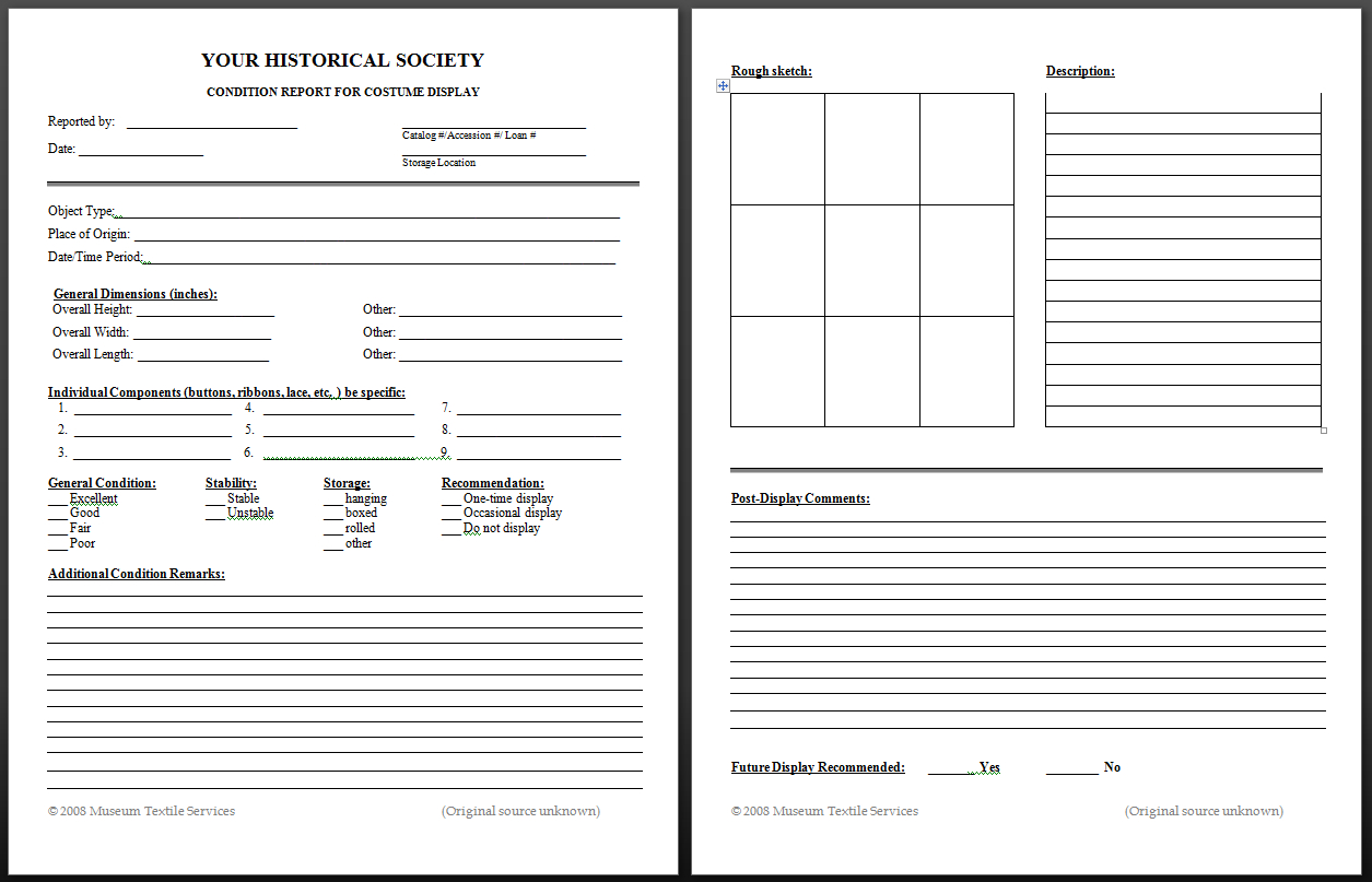 Textile Conservation Basics - Museum Textile Services pertaining to Property Condition Assessment Report Template