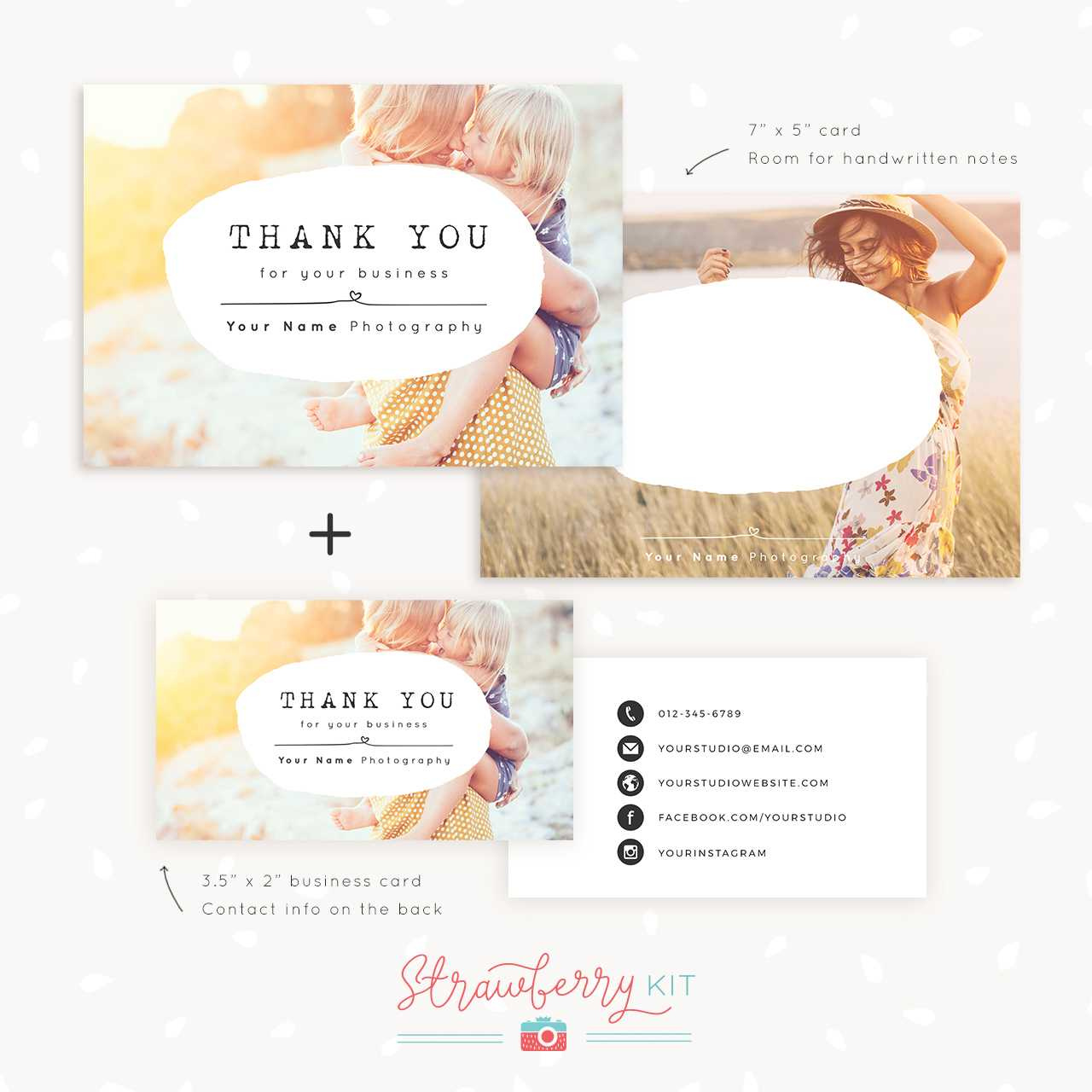 Thank You Note Card For Business | Set Of Two - Strawberry Kit throughout Thank You Note Cards Template