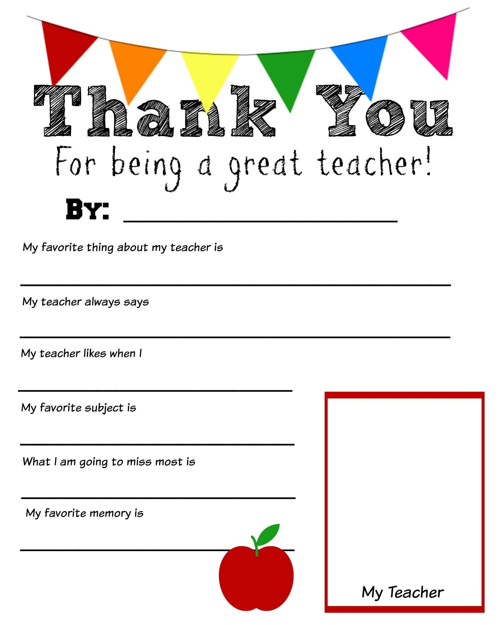 Thank You Teacher Free Printable | Teacher Appreciation Inside Thank You Card For Teacher Template