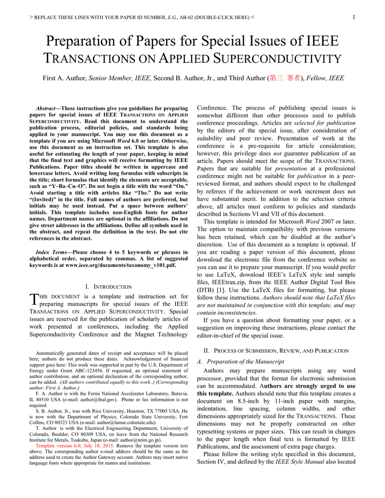 The Tas Manuscript Template - Ieee Council On Superconductivity pertaining to Ieee Template Word 2007