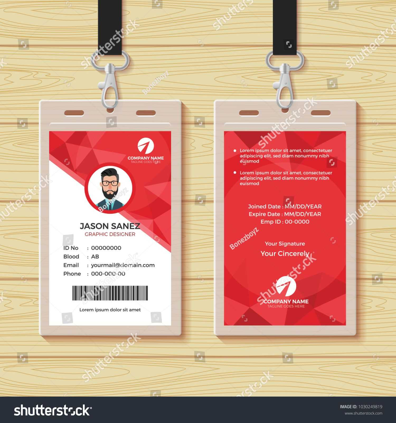 This Id Card Template Perfect For Any Types Of Agency for Company Id Card Design Template