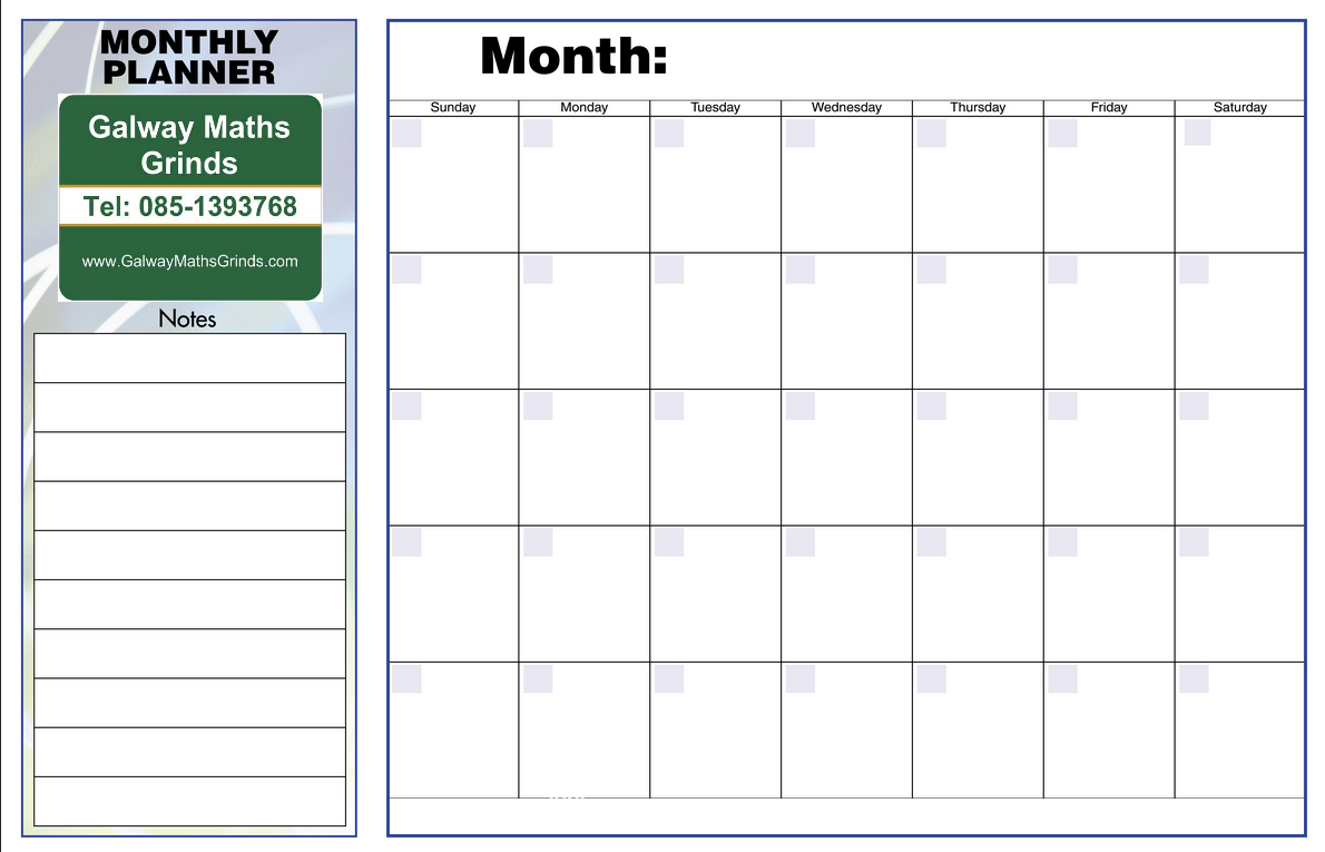 Time Table Templates | Galway Maths Grinds within Blank Revision Timetable Template