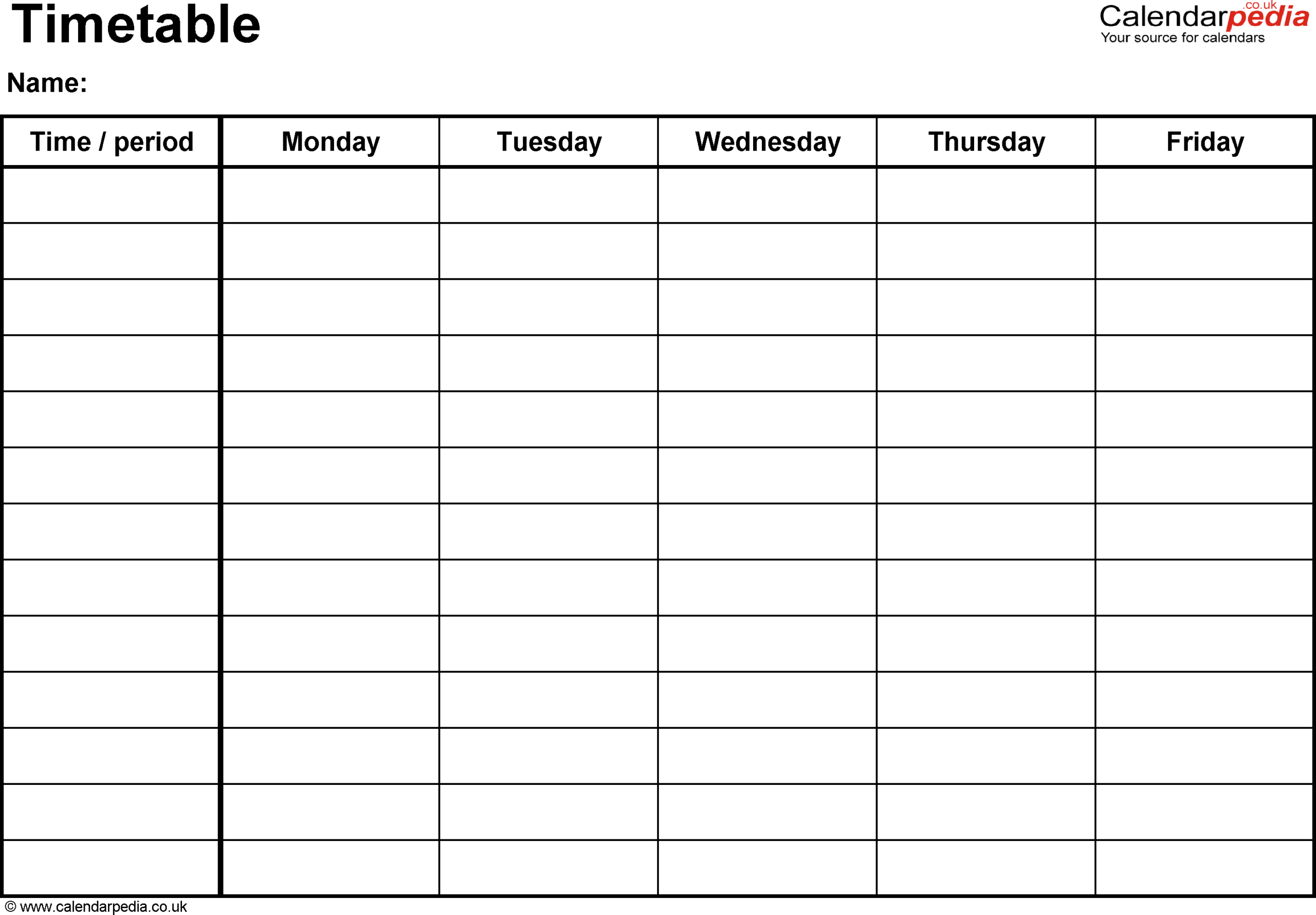 Timetable Templates For Microsoft Word - Free And Printable regarding Blank Revision Timetable Template