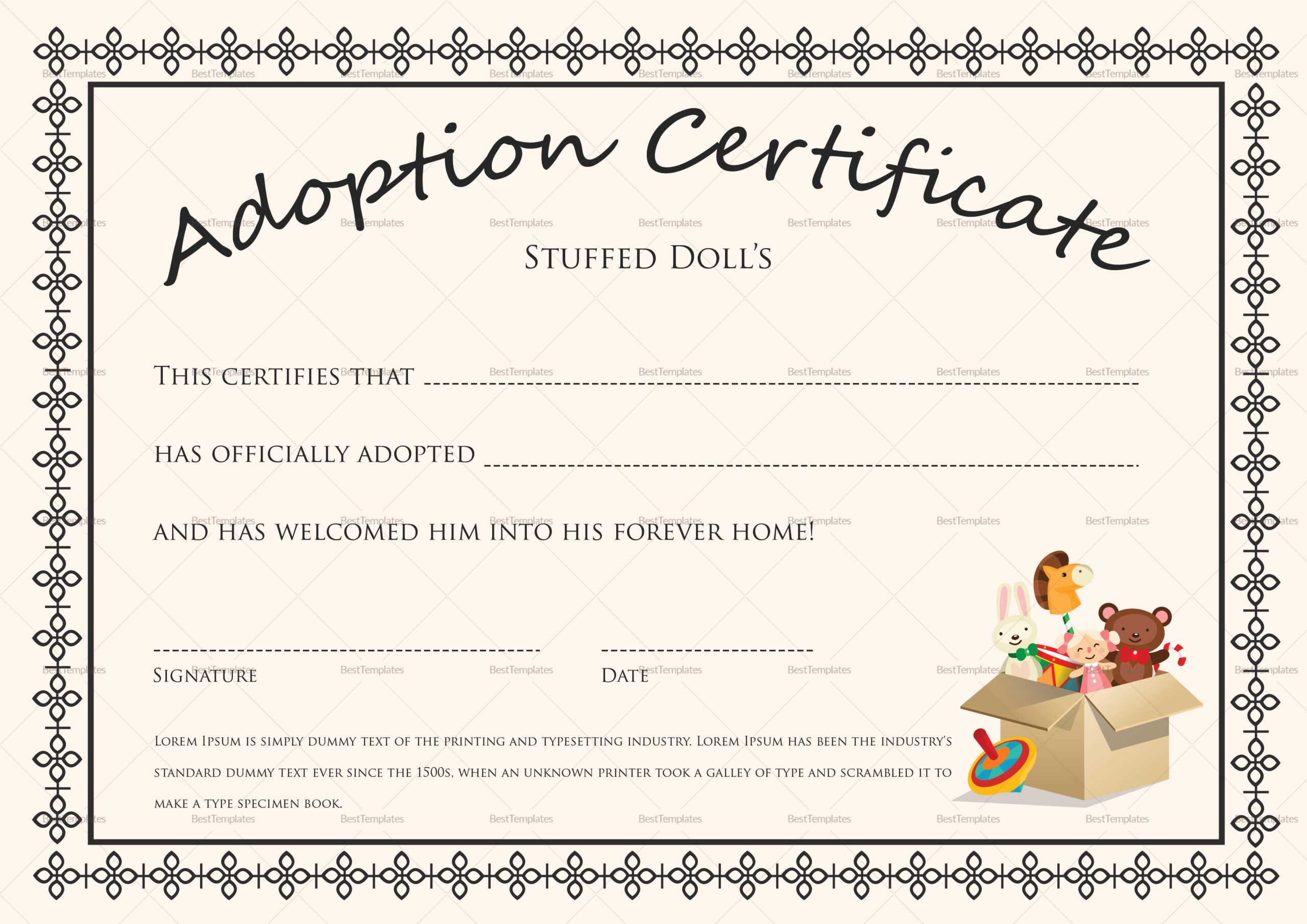 Toy Adoption Certificate Template - Atlantaauctionco in Toy Adoption Certificate Template
