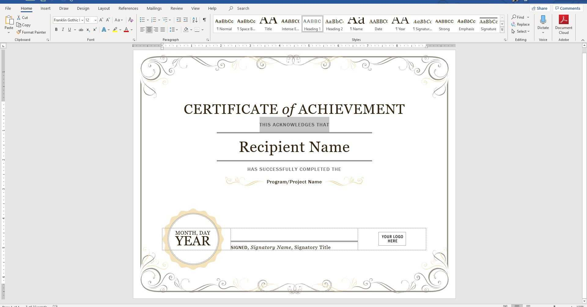 Training Certificate Format Doc Copy Of Participation With Regard To Certificate Of Participation Template Word