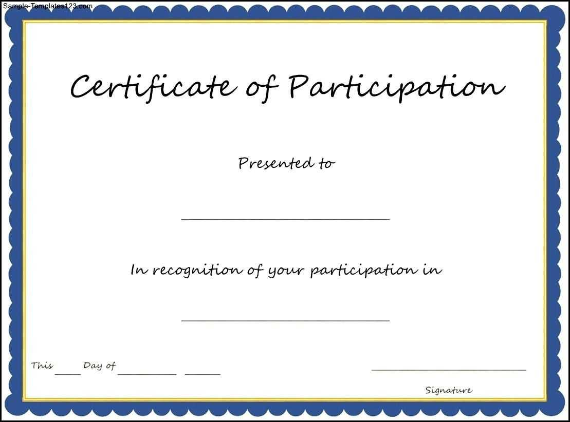 Training Participation Certificate Template - Major throughout Choir Certificate Template