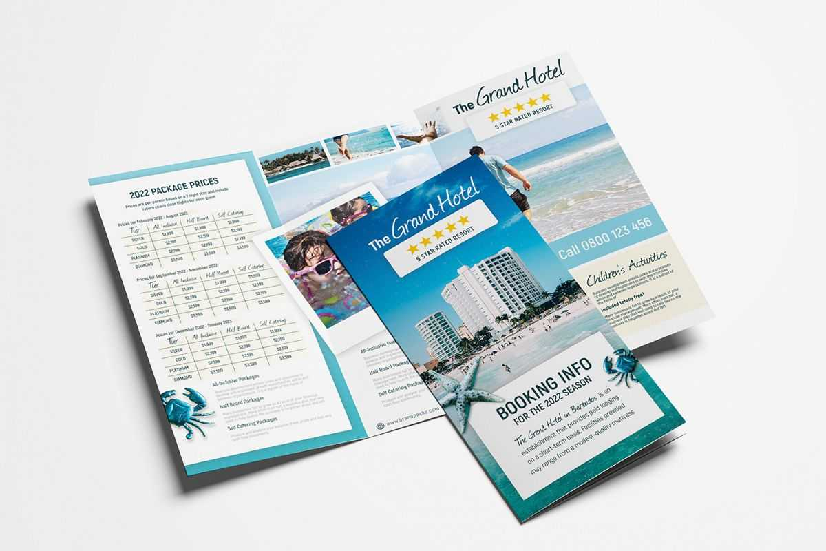 Travel Hotel Tri-Fold Brochure Template in Hotel Brochure Design Templates