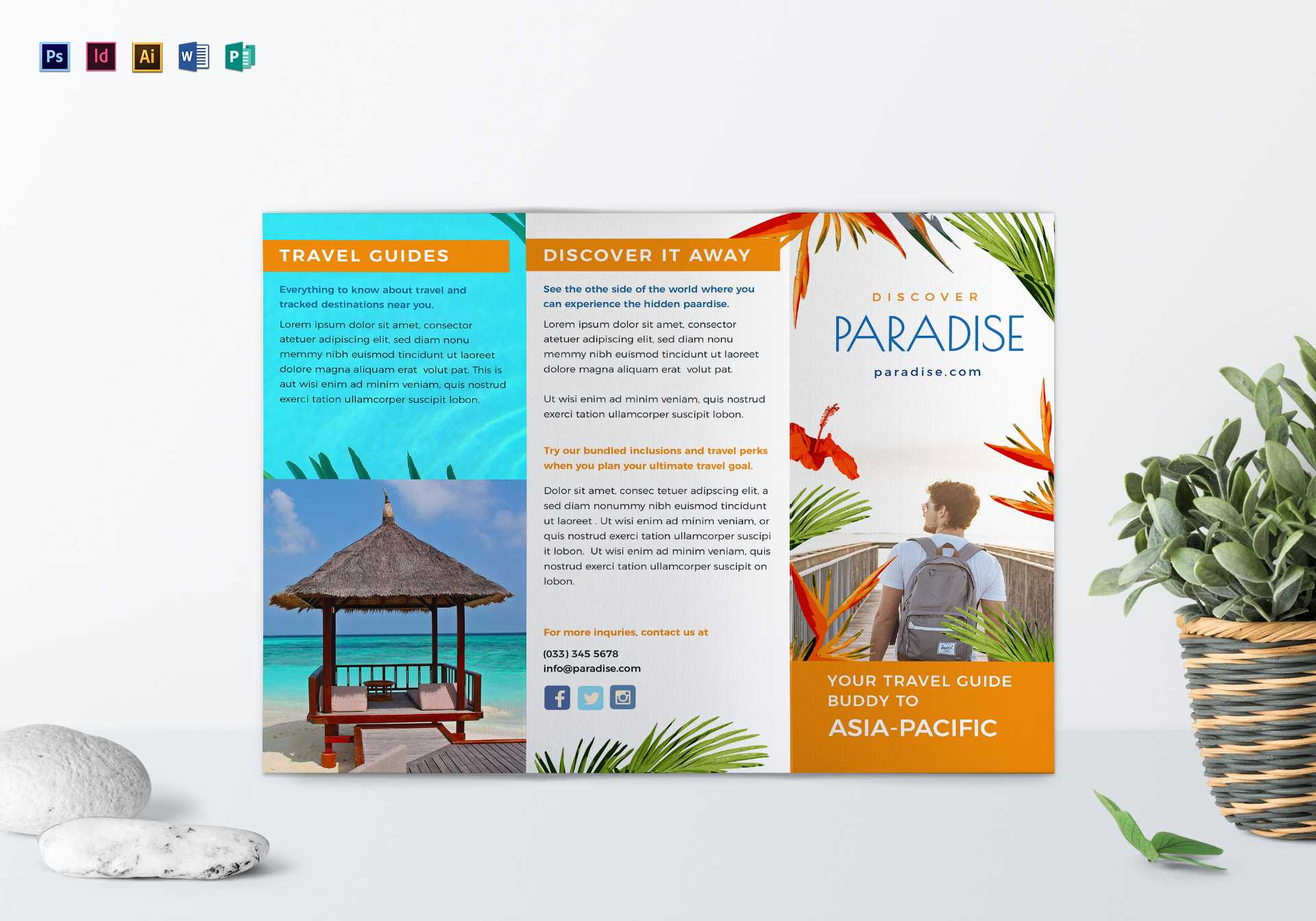 Travel Tri Fold Brochure Template In Word Travel Brochure Template