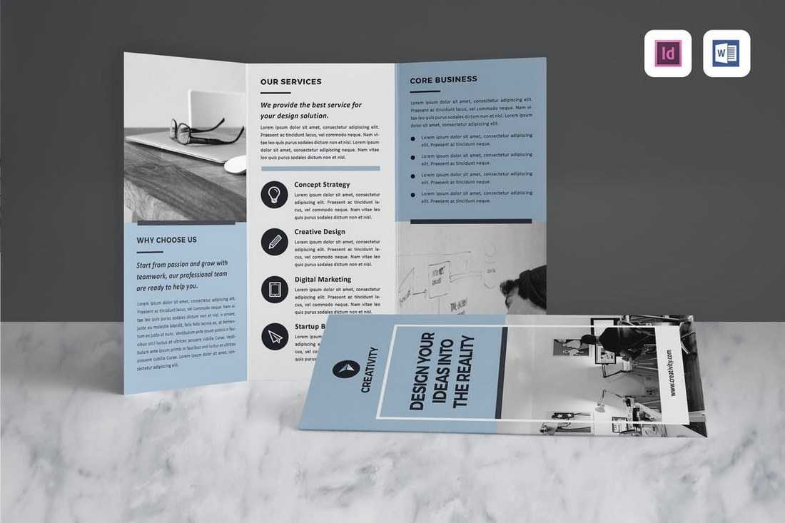 Tri Fold Brochure A4 Indesign Template #1517 inside Tri Fold Brochure Template Indesign Free Download