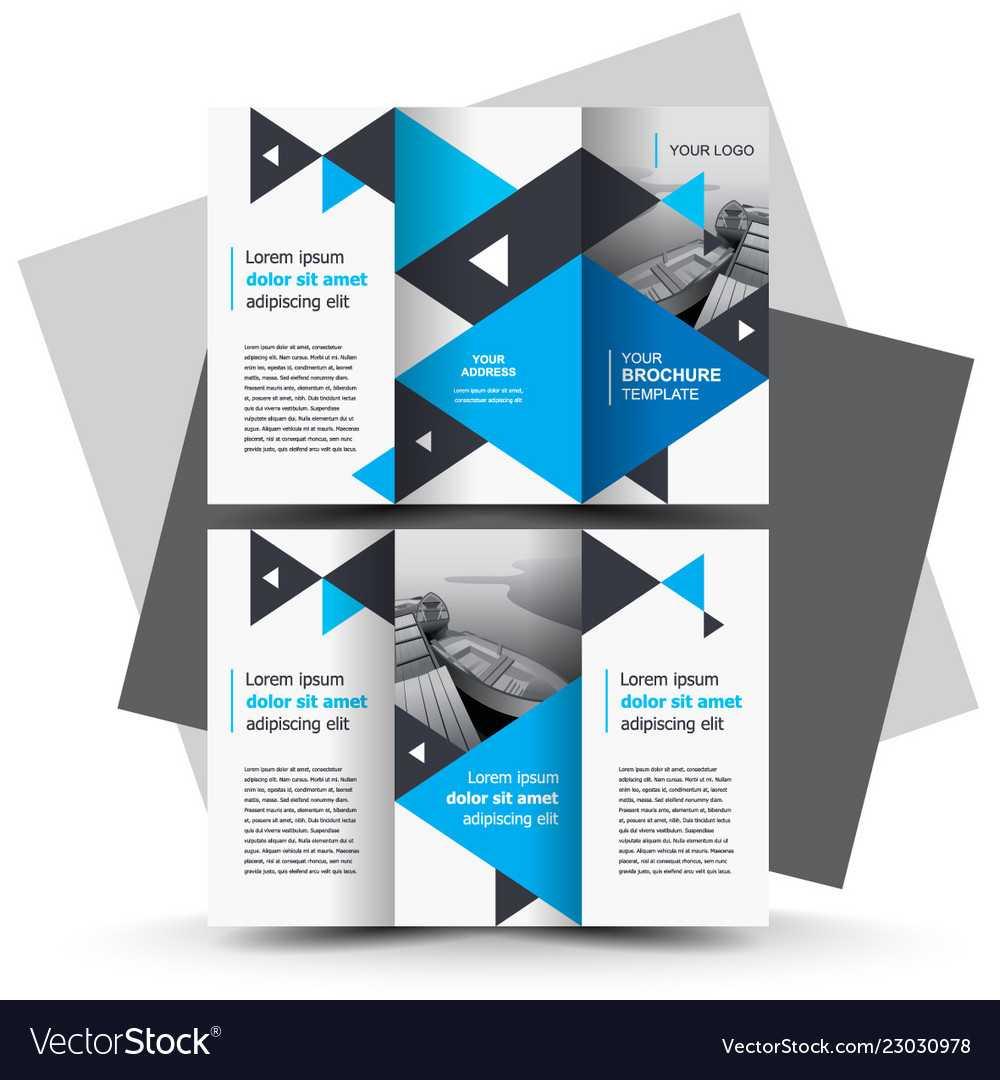 Tri-Fold Brochure Design Template Blue Color with E Brochure Design Templates