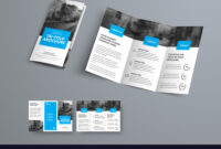 Tri-Fold Brochure Template With Blue Rectangular within Free Three Fold Brochure Template