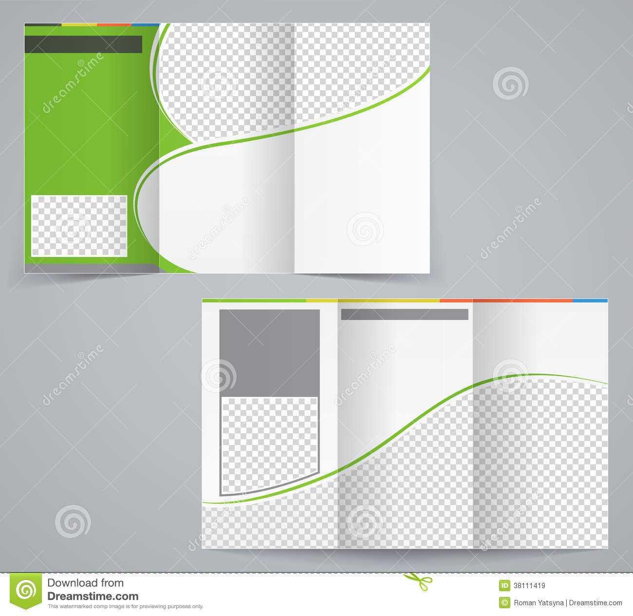 Tri-Fold Business Brochure Template, Vector Green Stock intended for Tri Fold Brochure Template Illustrator