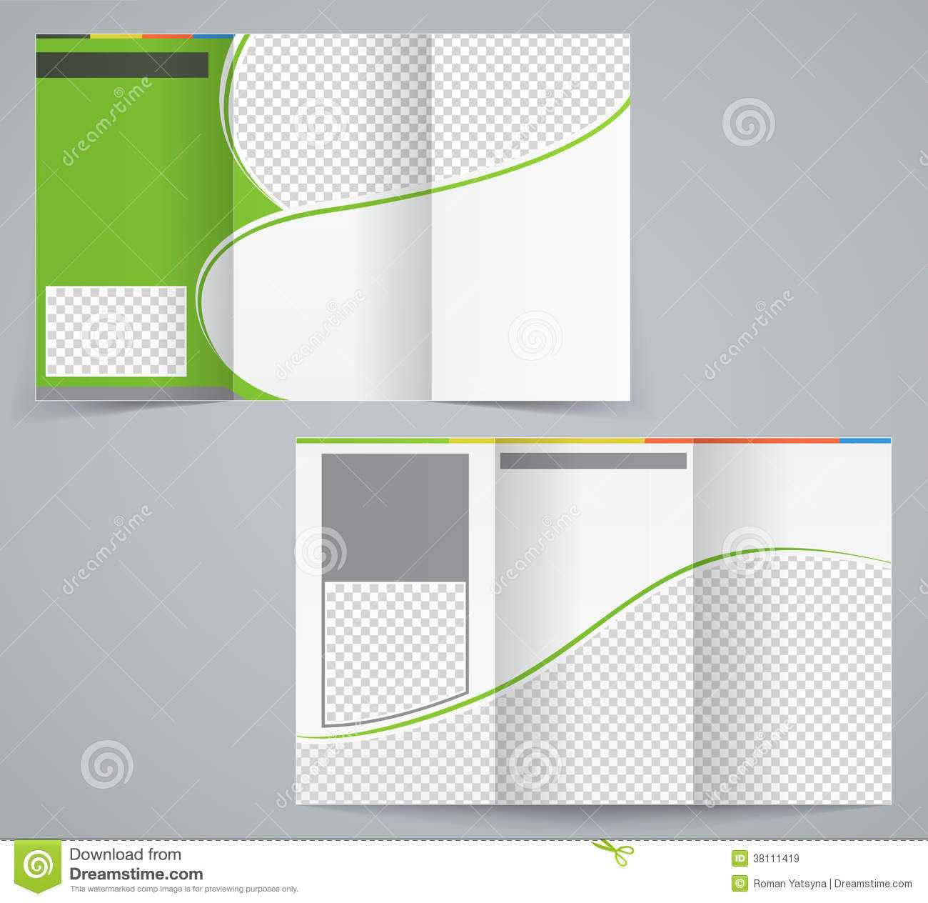 Tri Fold Business Brochure Template, Vector Green Stock Pertaining To Brochure Template Illustrator Free Download