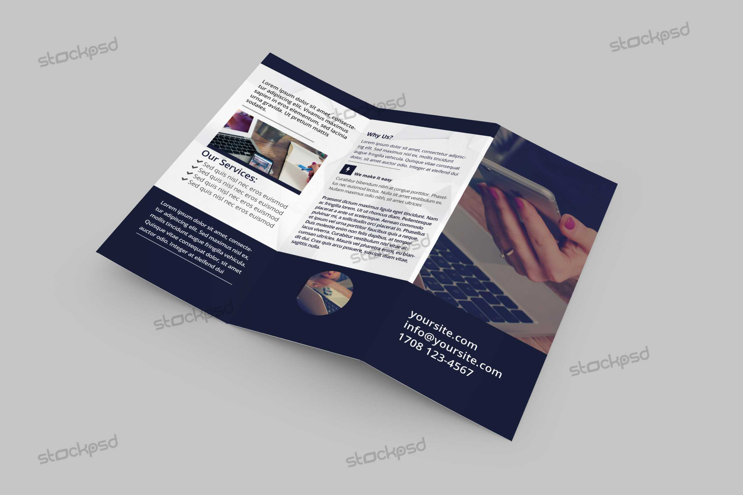 Tri-Fold Corporate Brochure - Free Psd Template - Free Psd pertaining to Brochure Psd Template 3 Fold