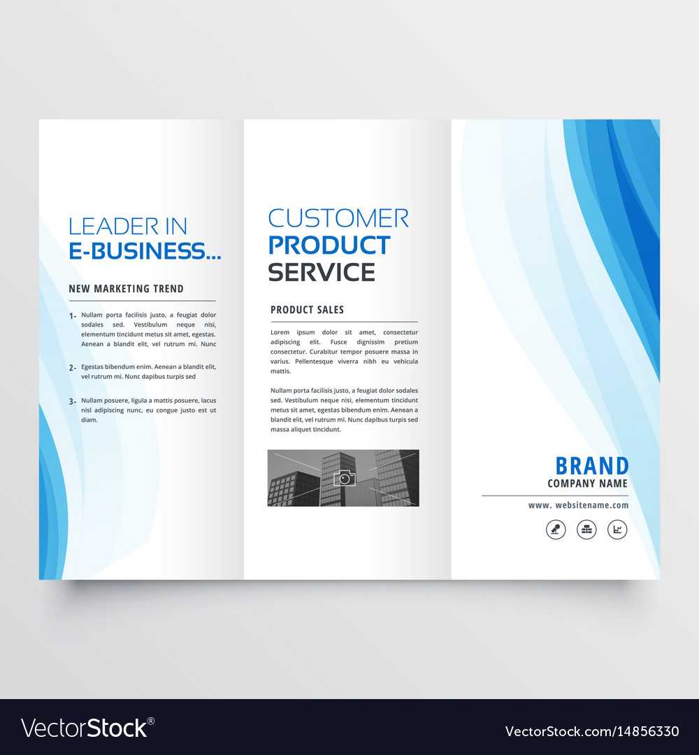 Trifold Brochure Design Template With Blue Wavy inside E Brochure Design Templates